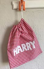 Handmade Personalised Drawstring School PE Bag - Red (Name of your choice)