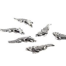 10pcs Crocodile Beads Charms Tibetan Silver Alloy Pendant DIY Necklace 30*8mm
