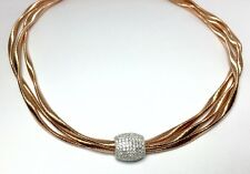Curtis J Lewis Find Italian Made Sterling Silver pink gold Finish CZ Necklace