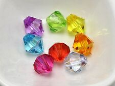 50 Mixed Colour Transparent Acrylic Faceted Bicone Beads 14X14mm Spacer