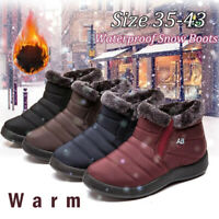 Womens Winter Warm Fur-lined Ankle Snow Boots Slip On Shoes Waterproof Plus Size
