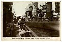 Antique WW1 military RPPC postcard British Boarding Party & German Destroyer