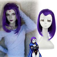 "Womens 13"" Medium Long Straight Purple Cosplay Wig Halloween Party Hair Wigs"