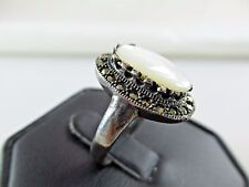 Vintage Mother of Pearl Marcasite Sterling Silver Ring Size 9 1/8 462C