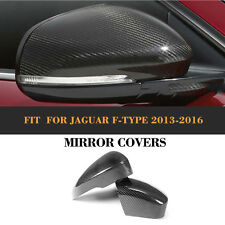 Carbon Fiber Rearview Side Wing Mirror Covers Caps Fit For Jaguar 13-16  F-Type