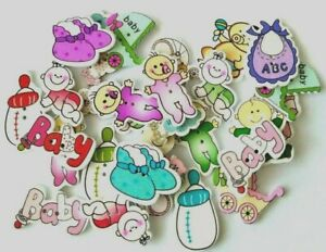 30Pcs Random mixed Wooden Baby Themed Buttons-embellishments-crafts-Baby shower