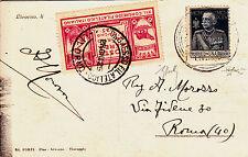 REGNO-POSTA AEREA ECCEZIONALE LIVORNO 28.6.1925+1L GIUBILEO(190)+Etichetta
