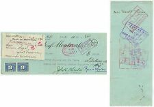 1950 Bank of Montreal Canada check with revenues - cover