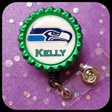 Seattle SEAHAWKS PERSONALIZED Name Bottle Cap ID Badge Holder Lanyard Work Clip