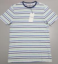 NEW Ben Sherman SMALL Blue Navy Green White Striped Cotton T-Shirt BO2101 $69.95