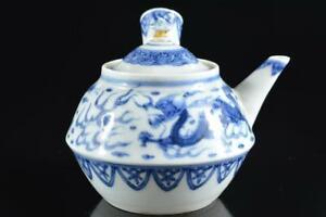 #5809: Japanese Kiyomizu-ware Blue&White Cloud Dragon TEAPOT Kyusu Sencha, auto