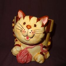 "New listing Tabby Cat Planter Yarn Orange Brown Kitten Animal Ceramic 6"""