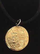 "Gold Doubloon Coin WC36 Gold Fine English Pewter On a 18"" Black Cord Necklace"