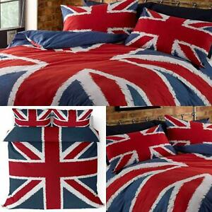 Funky Union Jack British UK Duvet Cover, Size Double Bed Set - Blue/Red/White