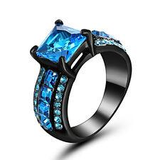 Size 8 Black Aquamarine Stone Wedding Engagement Ring Mother Father Christmas
