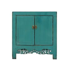 Chinese Distressed Rustic Aqua Blue Foyer Console Table Cabinet cs4966