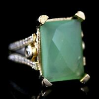 925 Sterling Silver Handmade Authentic Turkish Emerald Ladies Ring Size 7-12