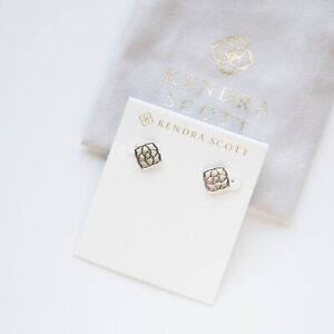 Kendra Scott Dira Stud Earrings In Silver Authentic