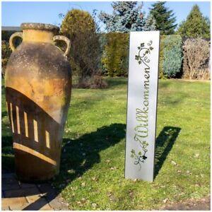 Willkommen Gartenstecker Gartenschild | Edelrost Garten-Deko | 120cm x 21cm