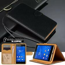 Black Flip Cover Stand Wallet Leather Case For Various Sony Xperia Mobile Phones