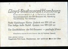 HAMBOURG (ALLEMAGNE) LLOYD-RESTAURANT HAMBURG / Carte de visite vers 1950