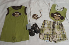 Gymboree 3-6 Month Monkey Trouble Shorts Size 2 Shoes Romper Bib Top Outfit NWT