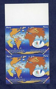 Peru- 1358 Imperforate MNH Proof Block of Four- Treaty Between Peru and Italy