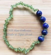 Natural Gem Crystal Peridot Chip Stone Lapis Lazuli Beads Stretchy Bracelet Sep