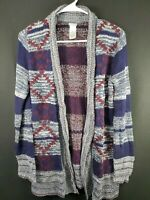 Charlotte Russe Womens Blue Red Aztec Long Sleeve Open Front Cardigan Size Small