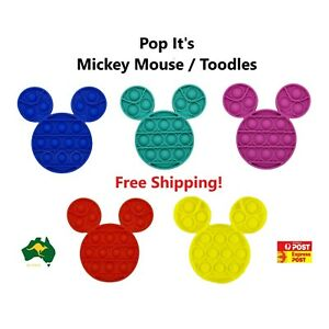 Pop Its Sensory Fidget Toy Push Bubble Mickey Mouse Toodles Stress Relief