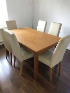 Next oak dining table and 6 real leather chairs
