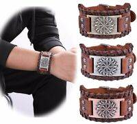 Ancient Norse Slavic Solar Symbol Viking Sun Wheel Amulet Brown Leather Bracelet
