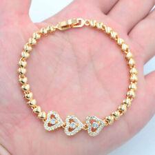 18K Yellow Gold Filled Clear Mystic Women Stylish Topaz Love Heart Link Bracelet