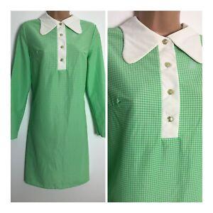 Vintage Late 60's Green & White Gingham Check Nylon Mod Shift Dress Size 12