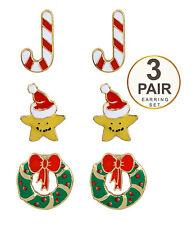 Post Earrings Star Wreath Candy Cane Christmas Theme 3 Pair Set Pierced