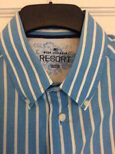 Men's M&S Blue Harbour Resort Blue & White Striped Short Sleeved Shirt Size Med.