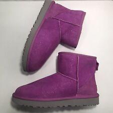 New UGG Mini Glitter Milky Way Classic Pink Short Wool Fur Boots Womens Size 8