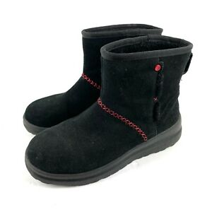 Ugg Mini Boots I Love Heart Kisses 6 Black Suede Stitched Short Booties Womens