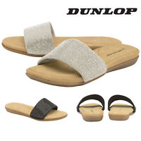 Dunlop Ladies Womens Slip On Sandals Sliders Flip Flops Shoes Padded Insock 3-8