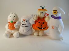 Halloween Stuffed Plush 3 Ghosts a Bear and 2 Pumpkins