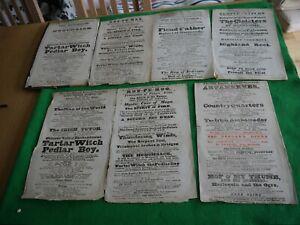 7 RARE 1832 ORIGINAL ANTIQUE THEATRE COVENT GARDEN ADVERTISEMENT POSTERS