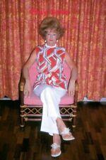 #AP Amateur 35mm Slide-Photo- Older Woman- High Hair- Colorful Outfit 1971