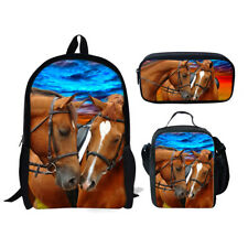 Kids Girls Boy School Bookbag Lunch Bag Pencil Bag 3pcs Horse Backpack One Set