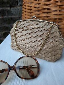 Vtg Original 50s 60s Gold Lurex Diamond Evening Clutch Hand Bag... Beauty..