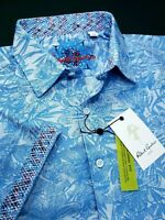 Robert Graham Paisley Floral Patterned Blue Short Sleeve Shirts