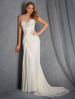 NWT Alfred Angelo 2563 Ivory chiffon long Size 20W formal bridal gown wedding