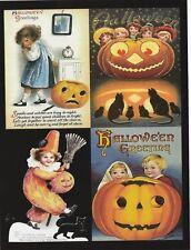"""*Postcard-*Halloween-""""4 Mini-Pics-Small Pumpkin & Friends"""" /One Postcard/ (V-30)"""
