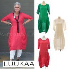 LUUKAA Linen 7Y536  EARNEST DRESS  Long Pocket Tunic (sizes 6-20) 2017 COLORS
