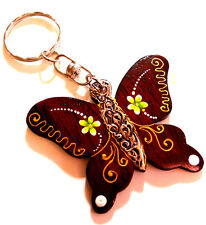 PORTE CLE CLEF BOIS WOODEN KEY HOLDER CHAIN ARTISANAT PAPILLON BUTTERFLY