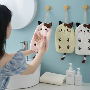 Coral Velvet Flat Cat Embroidered Hand Towels Hanging Type Absorbent Hand Towel